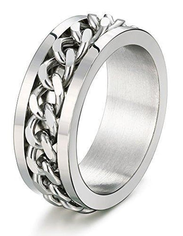 8mm Curb Chain Stainless Fashion Ring