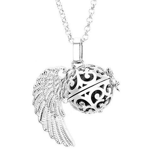 Winged ball Locket Pendant Lava Stone Aromatherapy Diffuser Necklace