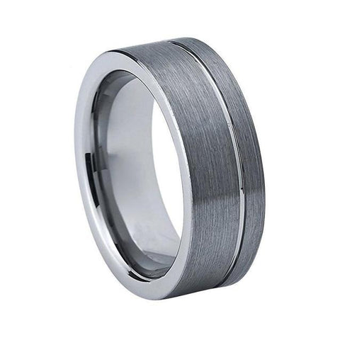 Off-center Brushed Gray Tungsten Carbide Ring