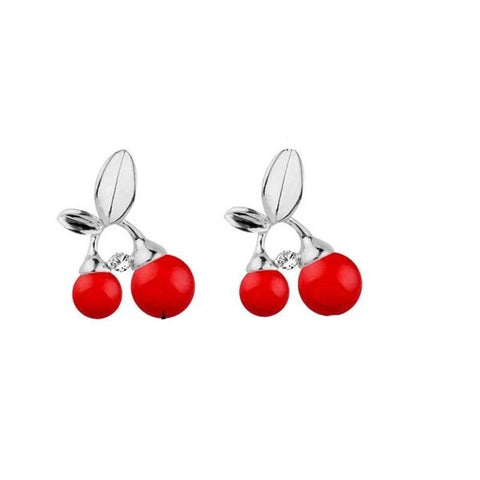Chic Silver Red Cherry Stud Earrings