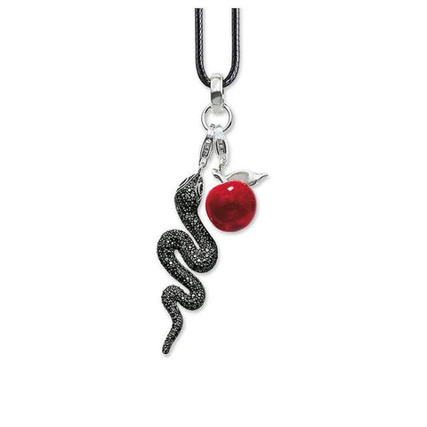 Snake Apple Charm Leather Rope Necklace