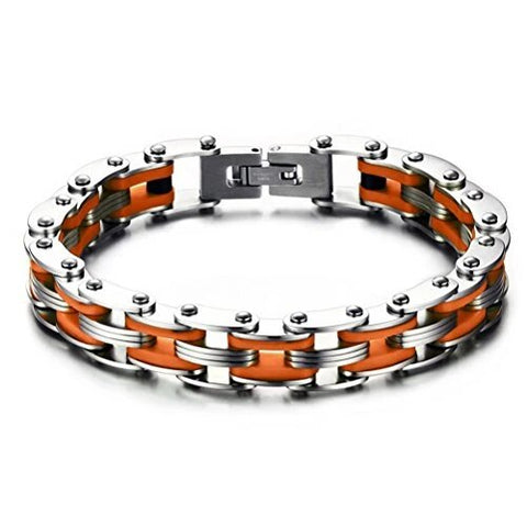 Stainless Steel Silicone Bicycle Chain Bracelet