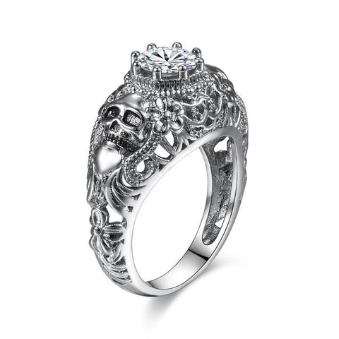 Vintage Foliage CZ Encrusted Stainless Skull Engagement Ring