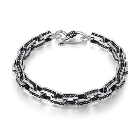 Large Box Chain Silver & Black Bead Inlay Sterling Silver Bracelet