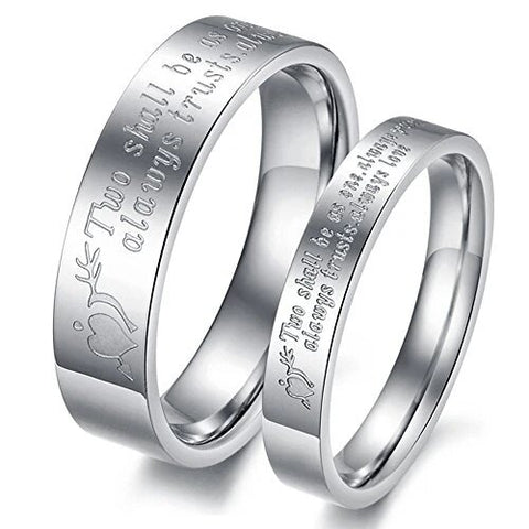 Silver Stainless Steel Love Quotes Proverb Couple Rings