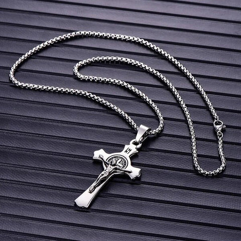 Silver & Black Stainless Steel Christian Pendant Necklace for Men