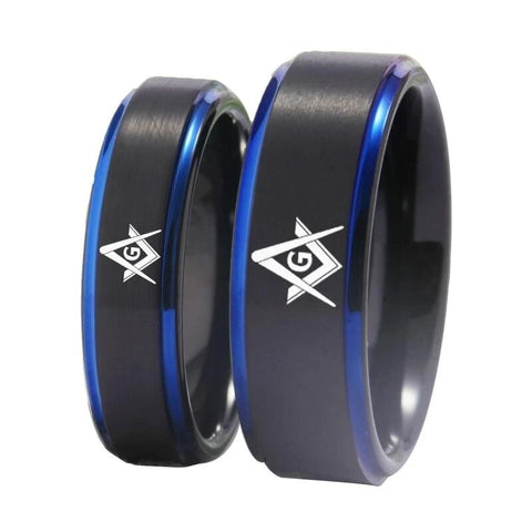 His and Her Freemason Black Tungsten Ring Set