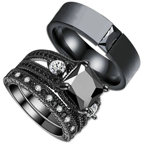 Black & White Zirconia Stainless Tension Ring Set