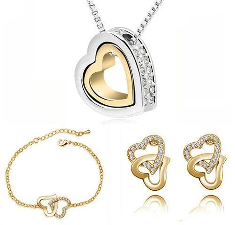 Gold & Silver Crystal Pave Stainless Steel Jewelry Set
