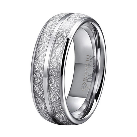 Double Channel Meteorite Inlay Silver Tone Tungsten Carbide Ring