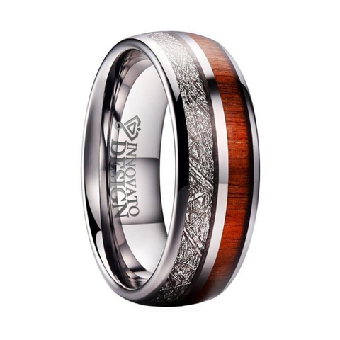 Dual-Channel Wood & Silver Meteorite Tungsten Carbide Ring