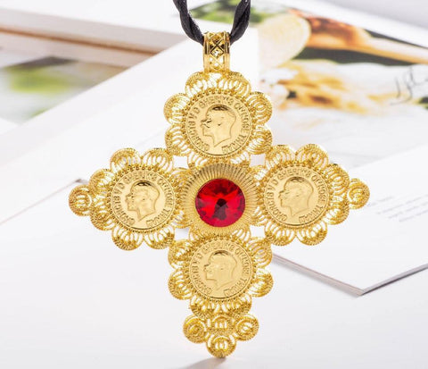 Gold-Tone Ancient Coin Cross Stainless Steel Fashion Necklace