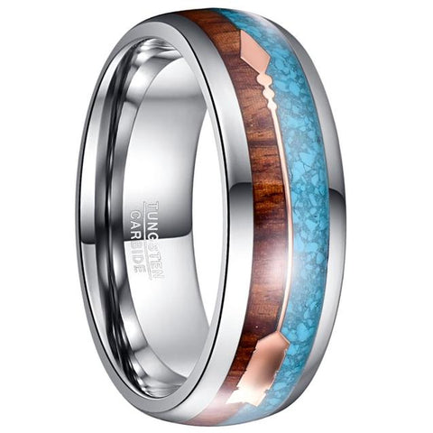 Wood Turquoise Arrow Tungsten Carbide Ring
