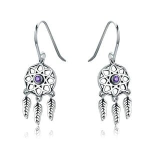 Sterling Silver Purple CZ Dream Catcher Hook Earring