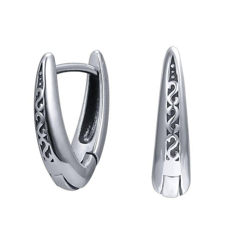 Futuristic S-pattern V-shaped 316L Stainless Steel Huggie Earring