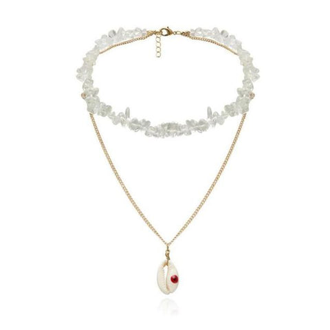 Cowrie Shell White Stone Double Chain Necklace