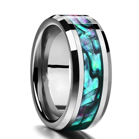 Silver-tone Tungsten Carbide Abalone Inlay Ring