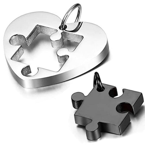 Silver Black Heart Puzzle Stainless Couple's Necklace