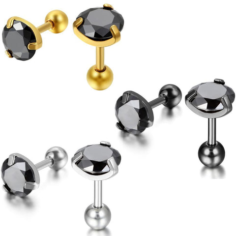 3Pairs Round Black CZ Stainless Stud Earring Set