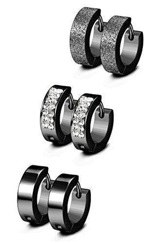 3Pairs Multi Design Plated 316L Stainless Huggie Earrings
