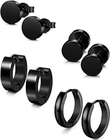 8PC Black Stainless Steel Earring Collection