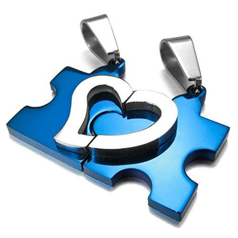 Plated Puzzle Heart Stainless His & Her Necklace