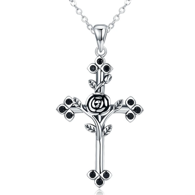 Two-Tone Silver Cross with Overlapping Rose Gold Rose Pendant Necklace - InnovatoDesign