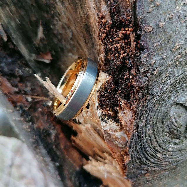 8mm Silver Matte Brushed Yellow Gold Plated Wedding Band
