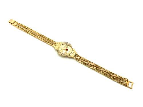 "Unisex Saint Barbara Piece 8.0"" Double Link Chain Bracelet in Gold, Silver Tone 3 Colors Available - InnovatoDesign"