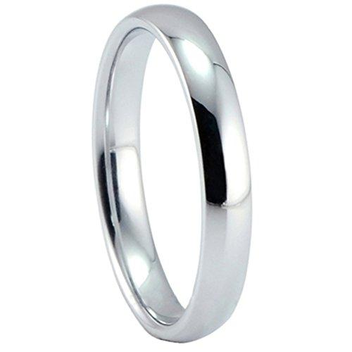 Men Women 3mm Tungsten Carbide Ring Simple Style Thin Wedding Engagement Promise White Band High Polished - InnovatoDesign
