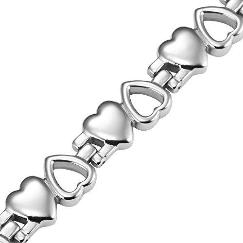 Women Love Heart Titanium Magnetic Therapy Bracelet Adjustable - InnovatoDesign