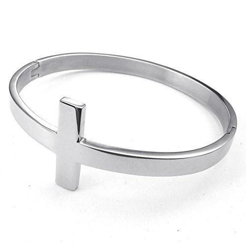 Men Women Stainless Steel Bracelet, Cross Cuff Bangle, Silver - InnovatoDesign