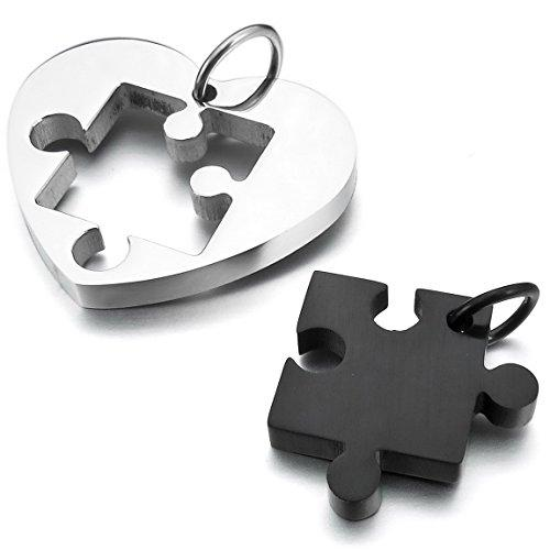 Men,Women's 2 PCS Stainless Steel Pendant Necklace Jigsaw Puzzle Heart Love Couple -With 20 and 23 Inch Chain - InnovatoDesign