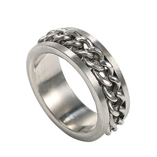 Jewelry Men Stainless Steel Black Grooved Edge Center Chain Spinner Ring,sizes5-14 - InnovatoDesign