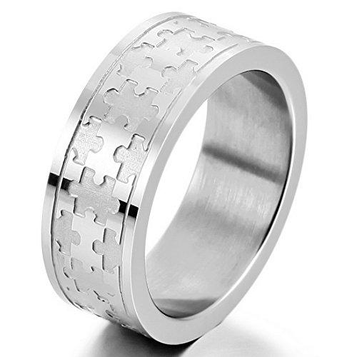 Men's Stainless Steel Ring Band Silver Tone Jigsaw Puzzle - InnovatoDesign