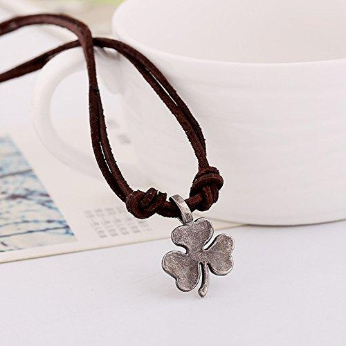 Men Punk Alloy Leather Clover Chain Pendant Necklace - InnovatoDesign