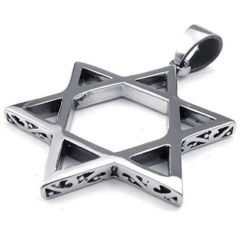 Men Gothic Star of David Stainless Steel Pendant Necklace, Black Silver, 24 inch Chain - InnovatoDesign