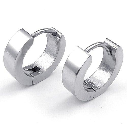 Men Stainless Steel Classic Plain Huggie Hinged Hoop Earrings, Silver - InnovatoDesign