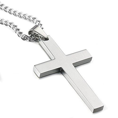 Stainless Steel Cross Pendant Chain Necklace for Men Women, 22-24 Inches - InnovatoDesign