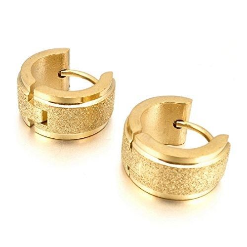 Men's Stainless Steel Stud Hoop huggie Earrings Gold Tone Matte - InnovatoDesign