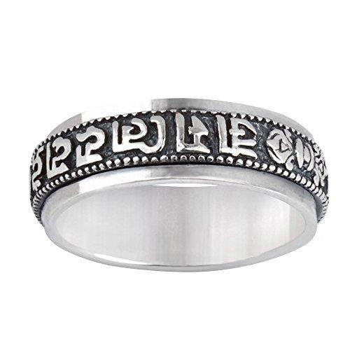 Silverly Women's Men's .925 Sterling Silver Spinner Tibetan Buddhist Mantra Sanskrit Band Ring - InnovatoDesign