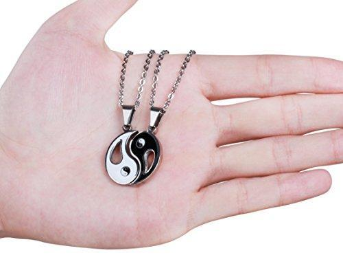 2pcs Stainless Steel Yin Yang Pendant Necklace for Men Women Puzzle Couples Necklace,22 inches