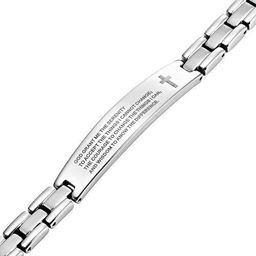 Two Tone Titanium Bracelet Engraved with The Serenity Prayer Adjustable - InnovatoDesign