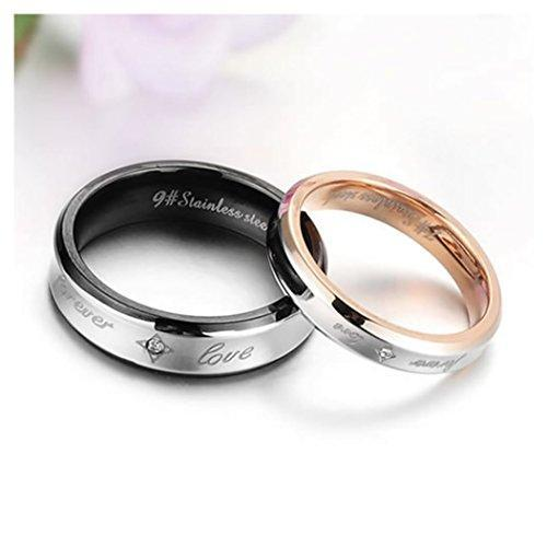 "Fashion Stainless Steel ""Forever Love"" Couples Promise Ring Men Women Wedding Bands"