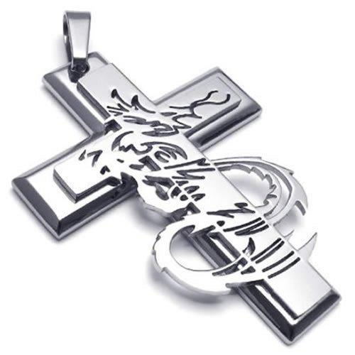 Men Stainless Steel Gothic Dragon Cross Pendant Necklace, 24 inch Chain - InnovatoDesign