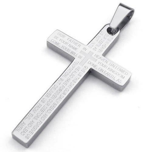 Stainless Steel Men Lords Prayer Cross Pendant Necklace, Silver, 24 inch Chain - InnovatoDesign
