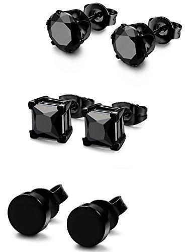 3 Pairs Stainless Steel Black Stud Earrings for Men Women CZ Earrings, 3mm-8mm Available