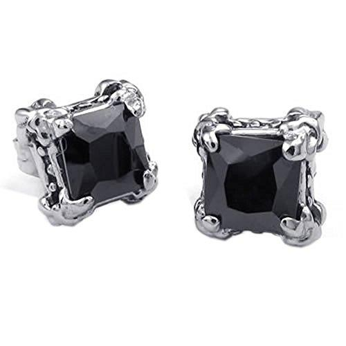 Men Cubic Zirconia Stainless Steel Gothic Dragon Claw Stud Earrings, Black Silver - InnovatoDesign