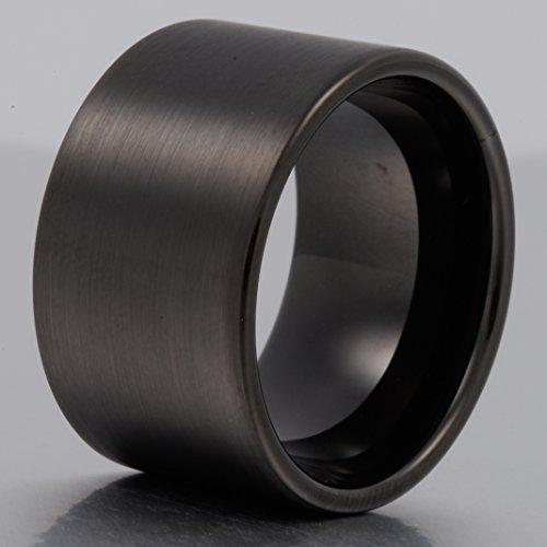 Men 14mm Big Tungsten Metal Ring Black Wedding Engagement Band Flat Top Pipe Cut Matte Finish Comfort Fit - InnovatoDesign
