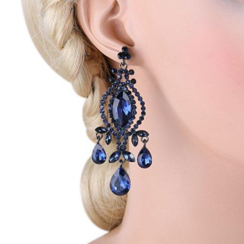 Austrian Crystal Vintage Style Teardrop Dangle Chandelier Earrings